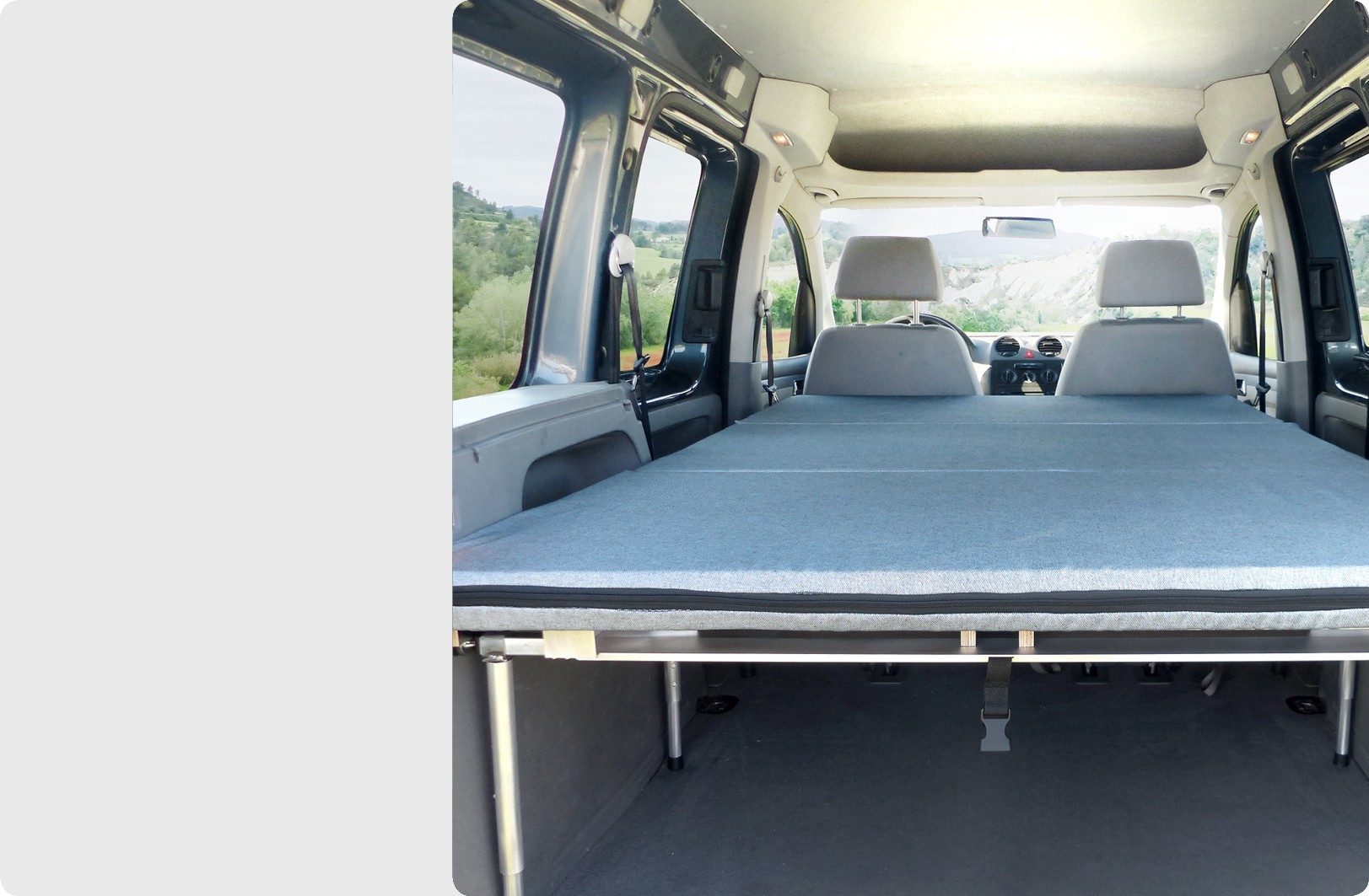 Folding bed for all types of vehicles. Easy to install and unfold.